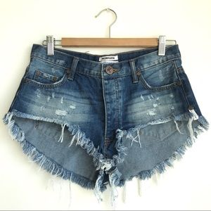 One Teaspoon Rollers denim jean shorts sz 25